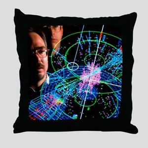 Physicists view a particle collision Throw Pillow