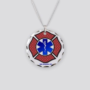 Steel Plate Maltese Cross an Necklace Circle Charm