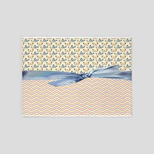 Trendy Chevron Pattern With Butterflies 5'x7'Area