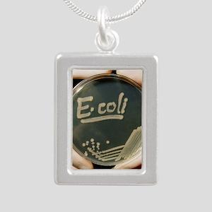 Petri dish culture of E. Silver Portrait Necklace