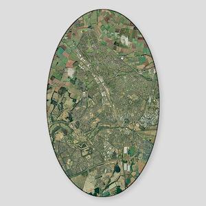 Peterborough, aerial image Sticker (Oval)