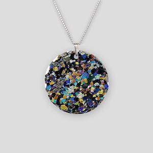 Peridotite rock, light micro Necklace Circle Charm