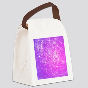 Particle tracks on galaxies Canvas Lunch Bag