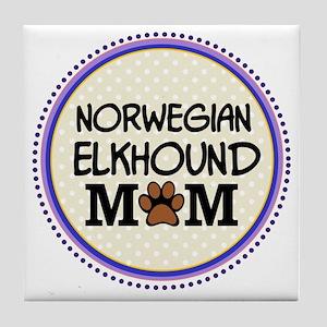 Norwegian Elkhound Dog Mom Tile Coaster