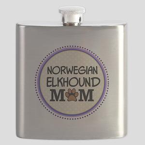Norwegian Elkhound Dog Mom Flask