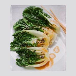 Pak choi on a plate Throw Blanket