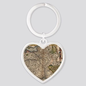 Ortelius's map of France, 1570 Heart Keychain