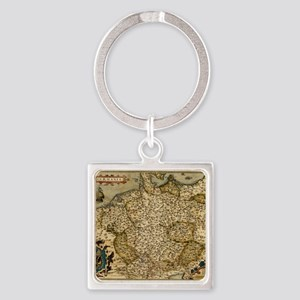 Ortelius's map of Germany, 1570 Square Keychain