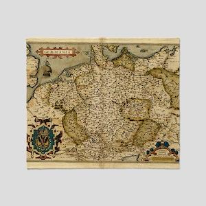 Ortelius's map of Germany, 1570 Throw Blanket