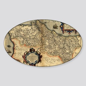Ortelius's map of Portugal, 1570 Sticker (Oval)