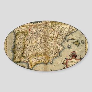 Ortelius's map of Iberian Peninsula Sticker (Oval)