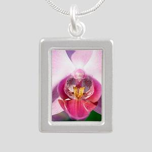 Orchid flower Silver Portrait Necklace