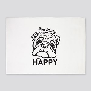 Happy Bulldog 5'x7'Area Rug