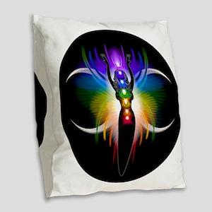 Chakra Goddess Burlap Throw Pillow