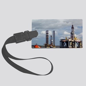 Oil drilling rigs, North Sea Large Luggage Tag