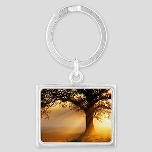 Oak tree at sunrise Landscape Keychain