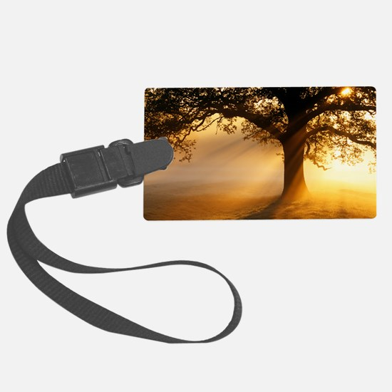 Oak tree at sunrise Luggage Tag