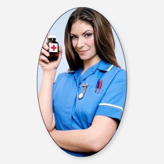Nurse holding a bottle of pills Sticker (Oval)