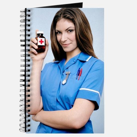 Nurse holding a bottle of pills Journal
