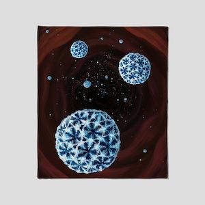 Norovirus particles, artwork Throw Blanket