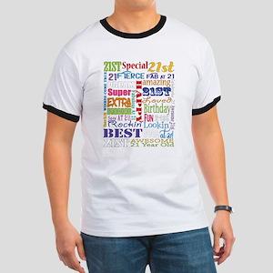 21st Birthday Typography Ringer T