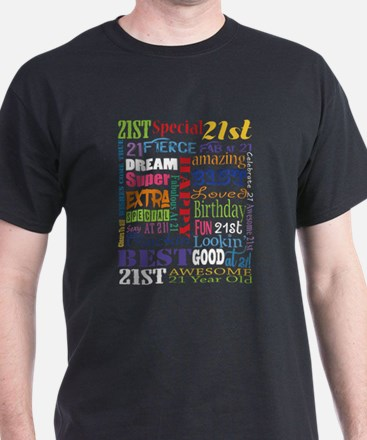 21st Birthday Typography T-Shirt