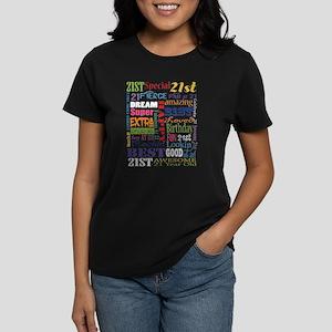 21st Birthday Typography Women's Dark T-Shirt