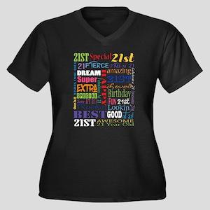 21st Birthda Women's Plus Size V-Neck Dark T-Shirt