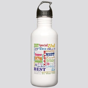 21st Birthday Typograp Stainless Water Bottle 1.0L