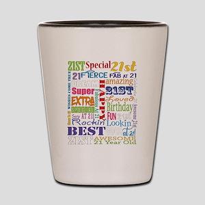 21st Birthday Typography Shot Glass