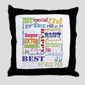 21st Birthday Typography Throw Pillow