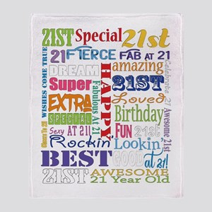 21st Birthday Typography Throw Blanket