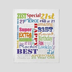 21st Birthday Typography Throw Blanket