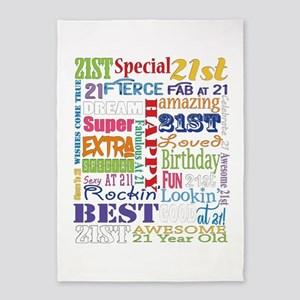 21st Birthday Typography 5'x7'Area Rug