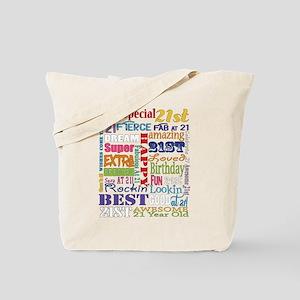 21st Birthday Typography Tote Bag