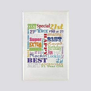 21st Birthday Typography Rectangle Magnet
