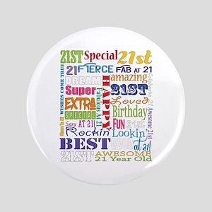 "21st Birthday Typography 3.5"" Button"