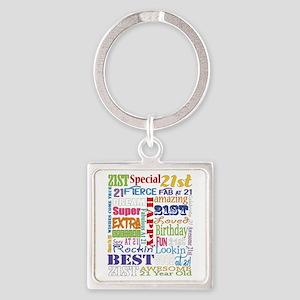 21st Birthday Typography Square Keychain