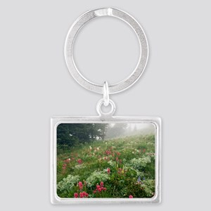 Mountain meadow in the mist Landscape Keychain
