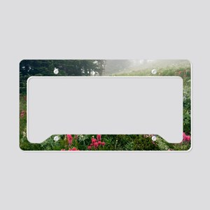 Mountain meadow in the mist License Plate Holder
