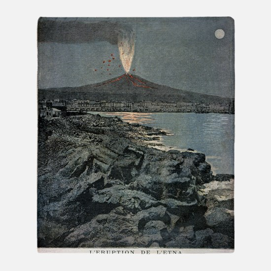 Mount Etna erupting, artwork Throw Blanket