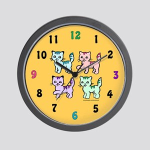 Colorful Kittens Wall Clock
