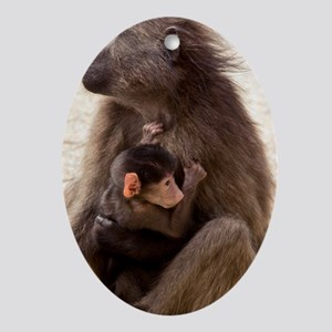 Mother and baby Chacma Baboon Oval Ornament