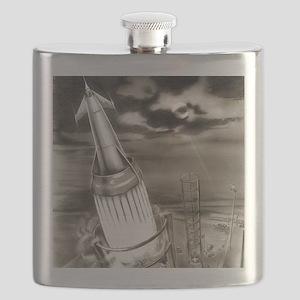 Moon rocket launch, 1950s artwork Flask