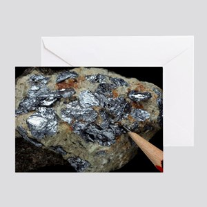 Molybdenite in granite Greeting Card