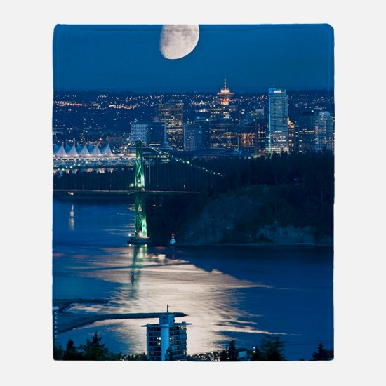 Moon over Vancouver Throw Blanket