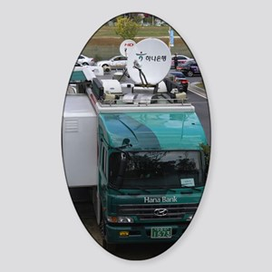 Mobile bank with satellite dishes,  Sticker (Oval)
