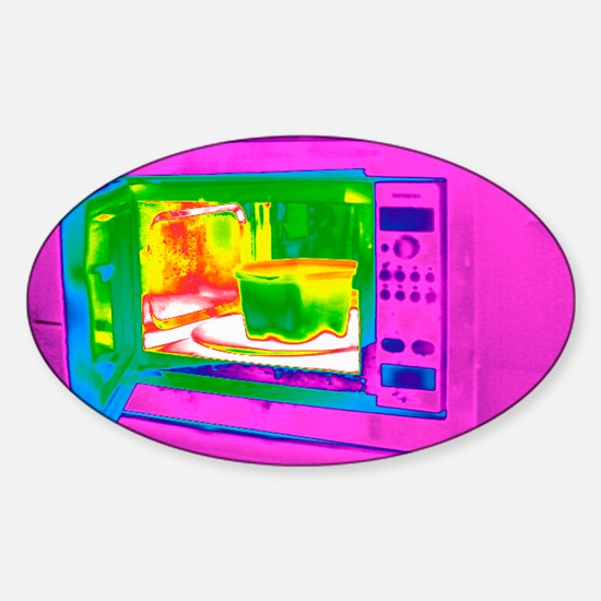 Microwave, thermogram Sticker (Oval)