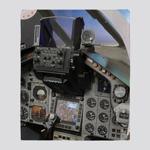 Military aircraft cockpit Throw Blanket