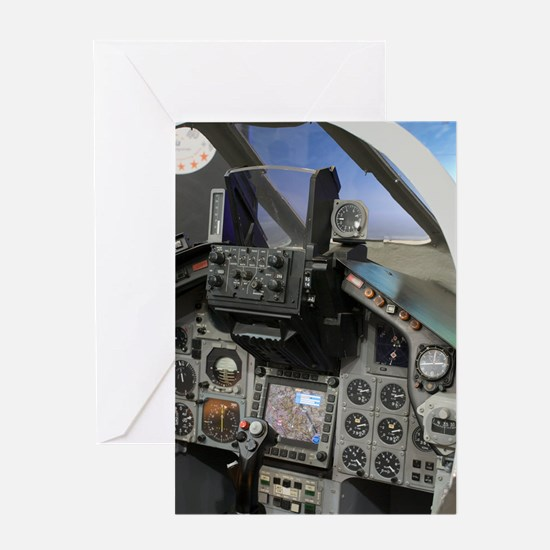 Military aircraft cockpit Greeting Card
